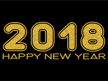 Vector illustration gold glitter inscription happy new year and 2018 on black background for design card or poster. Illustration