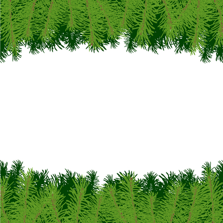 Vector illustration border or frame with Christmas tree branches on white background for design card or poster.