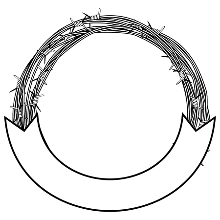 Vector illustration frame of  barbed wire on white background.