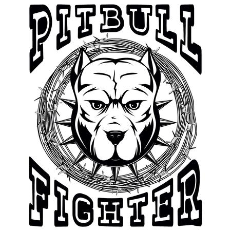 Abstrakcjonistyczny wektorowy czarny i biały ilustracyjny portret walczący psy. Głowa psa rasy pit bull w kołnierzu z kolcami na ramie z drutu kolczastego. Wojownik pitbull napis.