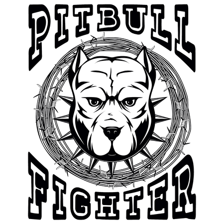 Abstract vector black and white illustration portrait of fighting dogs. Head of dog breed pit bull in collar with spikes on frame of barbed wire. Inscription pitbull fighter.