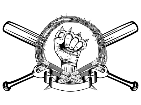 Vector illustration two crossed daggers and baseball bats. Frame of barbed wire and hand with brass knuckle. For tattoo or t-shirt design.