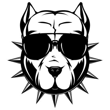 犬の戦いの抽象的なベクトル黒と白のイラスト肖像画。サングラスとスパイク首輪で犬の品種のピット ・ ブルの頭。