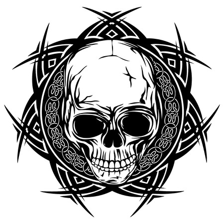 knotwork: Abstract vector illustration black and white skull on round ornament with celtic knots. Design for tattoo or print t shirt.