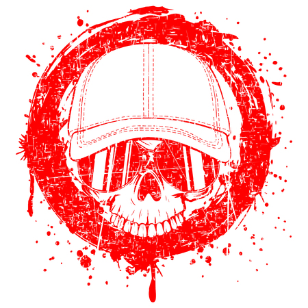 Abstract vector illustration red scratched skull without lower jaw in sunglasses and baseball cap on grunge background. Design for tattoo or print t-shirt.