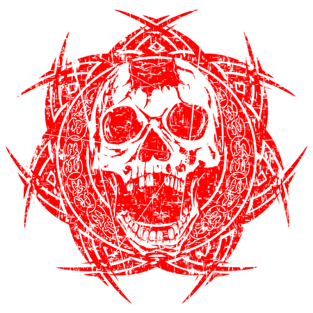 Abstract vector illustration red shabby stamp human broken skull with open jaw on round ornament with celtic knot. Design for tattoo or print t shirt.