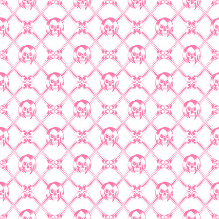 Vector illustration crossed bones and cartoon pink emo girl skull with hair. Seamless background. For t-shirt design or print on textile. Illustration