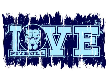Blue inscription love pitbull with head dog on grunge background. Illustration