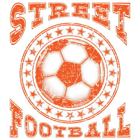 Abstract vector illustration orange shabby stamp football ball with stars on grunge background. Inscription street football. Design for print on fabric or t-shirt. Illustration
