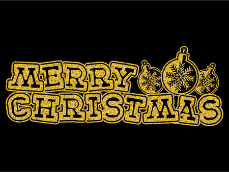 Vector illustration gold glitter inscription Merry Christmas with toys on black background for design card or poster.