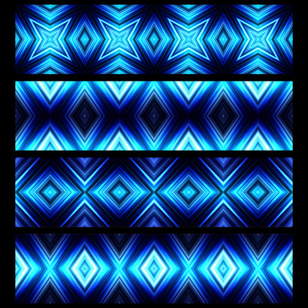 broadsheet: Vector illustration blue glowing border set. All borders can be used as seamless background.