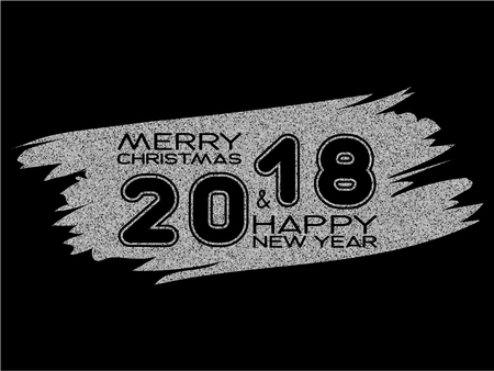 Inscription merry christmas and happy new year and 2018 on silver glitter texture paint stain on black background. Design for greeting card, poster, banner and flyers.