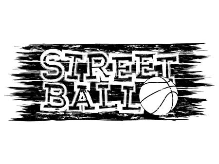 Vector illustration inscription streetball with basketball ball for t-shirt design 矢量图像