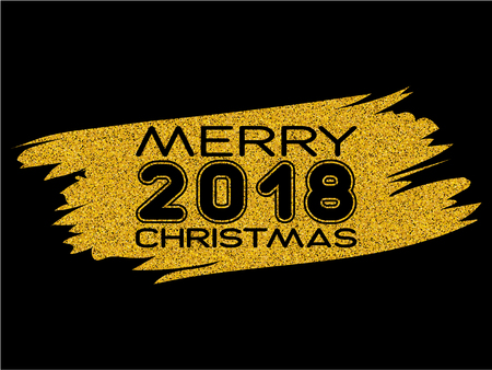 Inscription merry christmas and 2018 on gold glitter texture paint stain on black background. Design for greeting card, poster, banner and flyers.