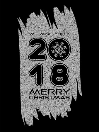 Inscription we wish you a merry christmas and 2018 with snowflake on solver glitter texture paint stain on black background. Design for greeting card, poster, banner and flyers.