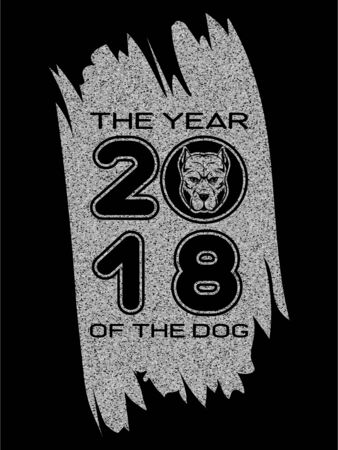 Inscription the year of the dog and 2018 with dog head on silver glitter texture paint stain on black background. Design for greeting card, poster, banner and flyers.