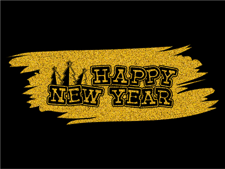 Inscription happy new year and 2018 with xmas trees on gold glitter texture paint stain on black background. Design for greeting card, poster, banner and flyers. Stock Illustratie