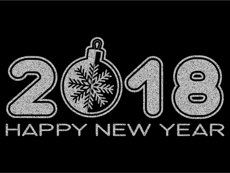 Vector illustration silver glitter inscription 2018 with toy and Happy New Year on black background for design card or poster.