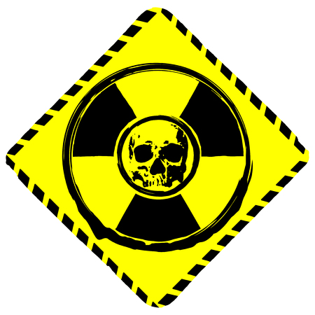 Vector illustration rhombus yellow icon radiation to skull. Illustration