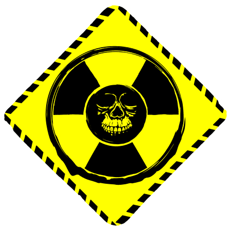 Vector illustration rhombus yellow symbol radiation to skull.