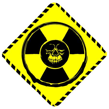 radioactive warning symbol: Vector illustration rhombus yellow symbol radiation to skull.