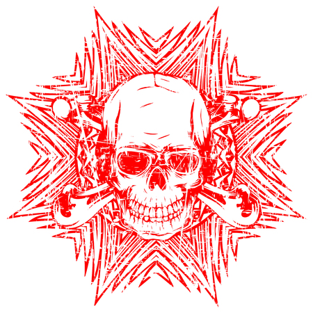 Abstract vector illustration red shabby stamp human skull with crossed bones on round ornament. Design for tattoo or print t shirt.