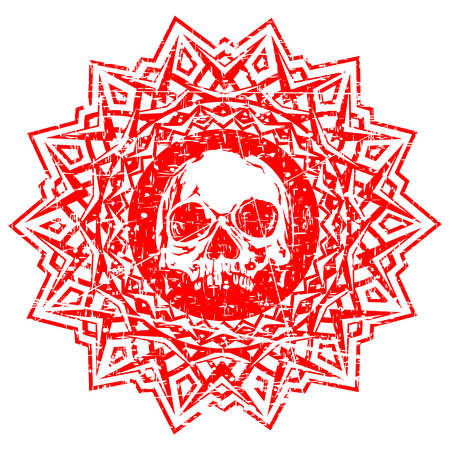 Abstract vector illustration red shabby stamp human skull on round ornament. Design for tattoo or print t shirt.