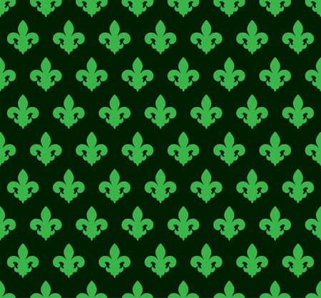 Vector illustration green seamless background with lily (fleur de lis) for print fabric or poster.