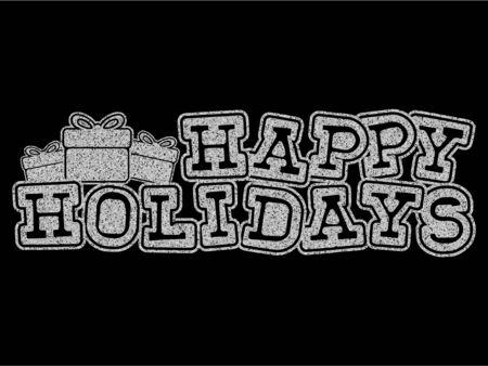 Vector illustration silver glitter inscription Happy holidays on black background for design card or poster. Çizim