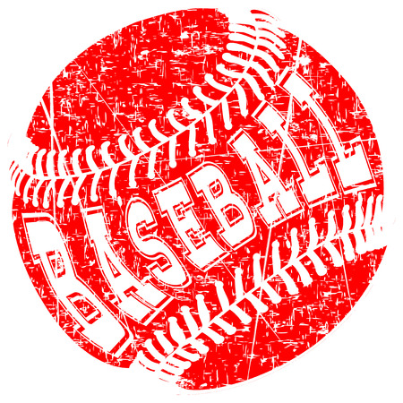 Abstract vector illustration red scratched baseball ball. Inscription baseball. Design for tattoo or print t-shirt. Illustration