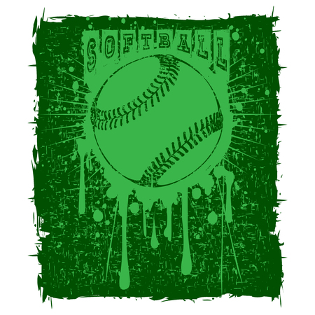 Abstract vector illustration green baseball ball on grunge background. Inscription softball. Design for tattoo or print t-shirt.