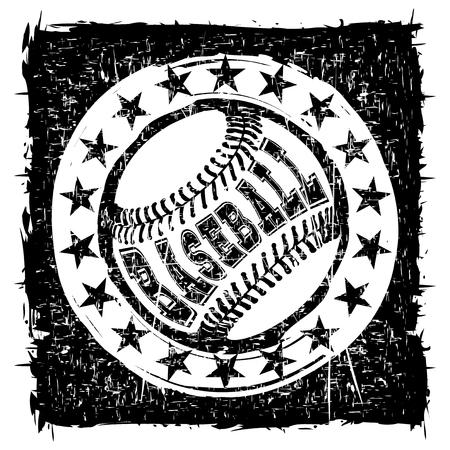Abstract vector illustration black and white baseball ball on grunge background. Inscription baseball. Design for tattoo or print t-shirt.