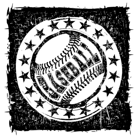 Abstract vector illustration black and white baseball ball on grunge background. Inscription baseball. Design for tattoo or print t-shirt.