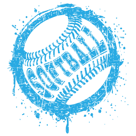 Abstract vector illustration blue scratched baseball ball on grunge background. Inscription softball. Design for tattoo or print t-shirt. Stock Illustratie