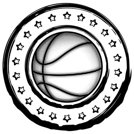 Vector illustration basketball ball with stars on white background for t-shirt design