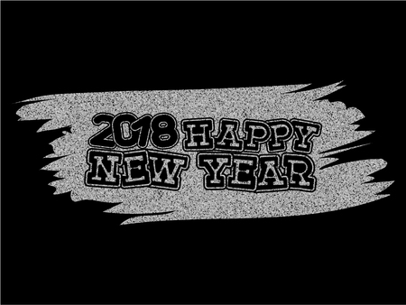 Inscription happy new year and 2018 on silver glitter texture paint stain on black background. Design for greeting card, poster, banner and flyers.