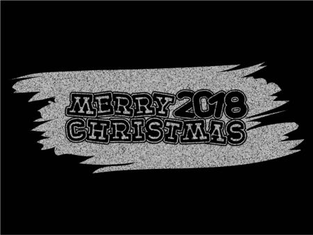 Inscription merry christmas and 2018 on silver glitter texture paint stain on black background. Design for greeting card, poster, banner and flyers.