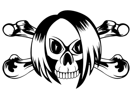 Vector illustration emo skull with crossed bones on white background. For tatto or t-shirt design.