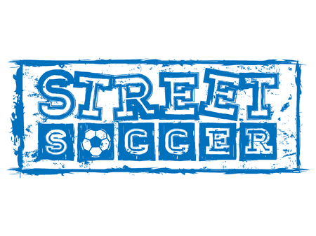 Abstract vector illustration blue inscription street soccer with football ball. Design for print on fabric or t-shirt.