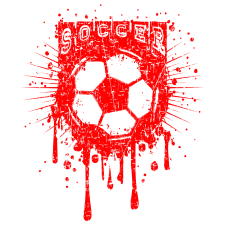 Abstract vector illustration red inscription soccer with football ball on grunge background. Design for print on fabric or t-shirt. Illustration