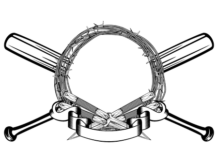 Vector illustration two crossed daggers and baseball bats. Frame of barbed wire. For tattoo or t-shirt design.