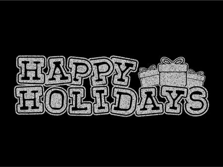 Vector illustration silver glitter inscription Happy holidays on black background for design card or poster. 矢量图像