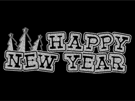 Vector illustration silver glitter inscription Happy New Year with fur tree on black background for design card or poster.