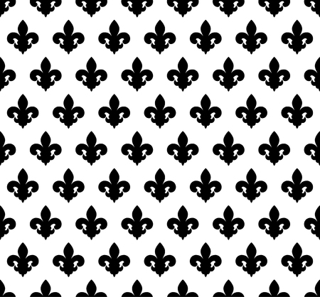 Vector illustration black and white seamless background with lily (fleur de lis) for print fabric or poster.