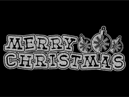 Vector illustration silver glitter inscription Merry Christmas with toys on black background for design card or poster.