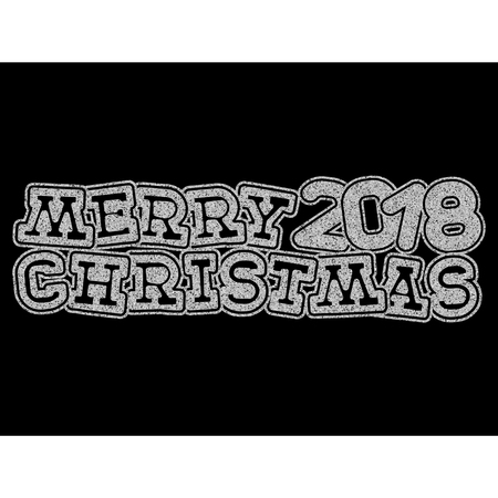 Vector illustration silver glitter inscription 2018 Merry Christmas on black background for design card or poster.