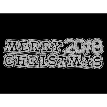Vector illustration silver glitter inscription 2018 Merry Christmas on black background for design card or poster.