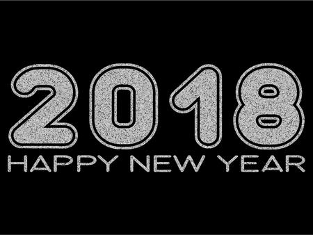 Vector illustration silver glitter inscription 2018 Happy New Year on black background for design card or poster.