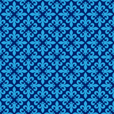 Vector illustration of blue seamless background with lily (fleur de lis) for print fabric or poster