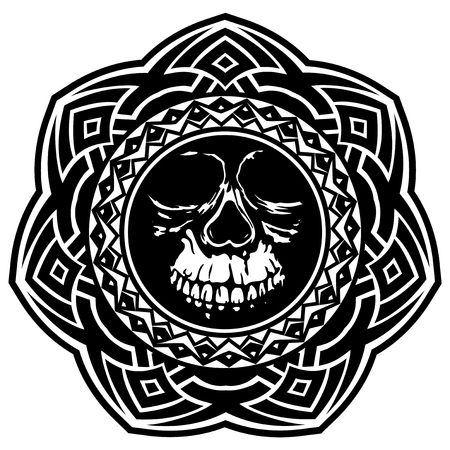 Abstract vector illustration of black and white skull on round ornament. Design for tattoo or print t-shirt. Illustration